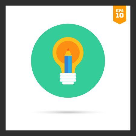 filament: Icon of lightbulb and pencil Illustration