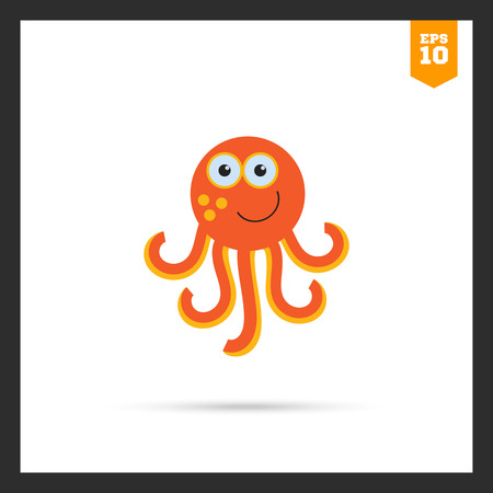 cartoon octopus: Vector icon of cute smiling cartoon octopus