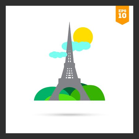 sight: Icon of Eiffel tower sight with park, sun and clouds