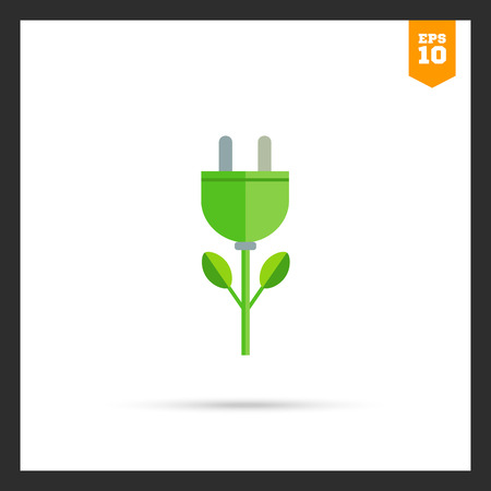 Icon of stylized green electric plug flower