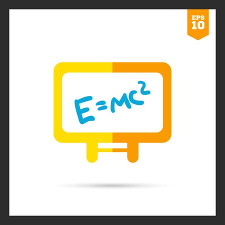 einstein: Icon of Einsteins energy formula written on white board Illustration