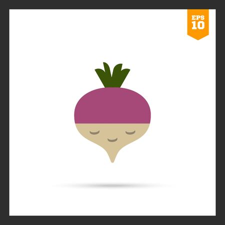rational: Vector icon of fresh radish with green sprouts