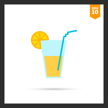 lemonade: Icon of glass with drink, straw and citrus slice