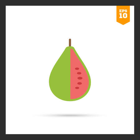 guava fruit: Vector icon of green cut guava fruit Illustration