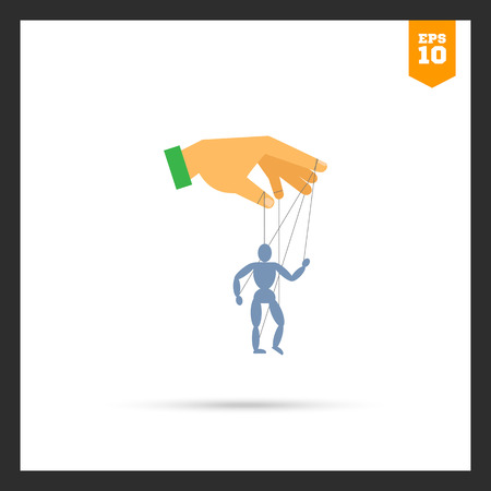 Vector icon of human hand with marionette puppet Illustration
