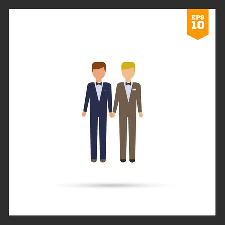 homosexual wedding: Icon of two bridegrooms Illustration
