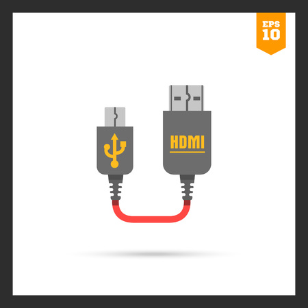 interconnect: Icon of mini USB to HDMI cable
