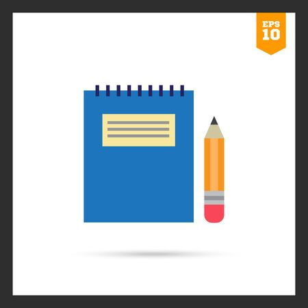Icon of notepad with blue cover and pencil