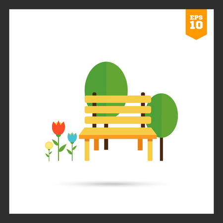 flowerbed: Icon of park bench, trees and flowerbed