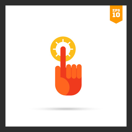 finger tip: Icon of human index finger with glowing tip pointing upwards