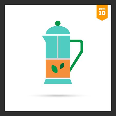 mint: Icon of press pot with tea and mint leaves inside