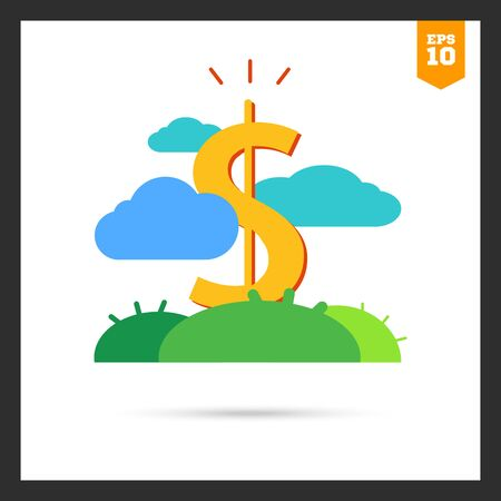 grow money: Icon of dollar sign growing on green lawn
