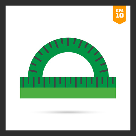 protractor: Icon of green protractor ruler Illustration