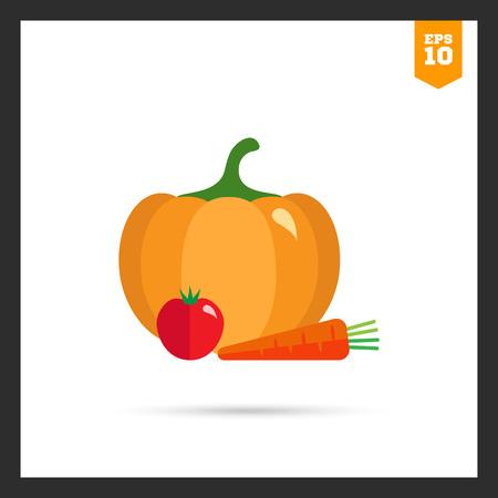 pumpkin tomato: Vector icon of pumpkin, tomato and carrot