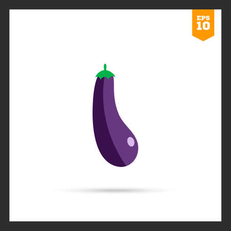 rational: Vector icon of eggplant with green stem