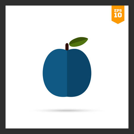 rational: Vector icon of plum fruit with leaf