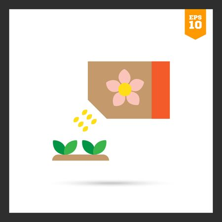 seed growing: Icon of flower seed packet with few seeds falling out and growing sprouts Illustration