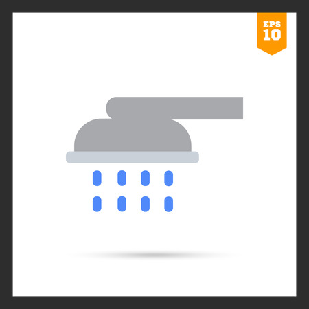 douche: Icon of shower spray with falling water drops