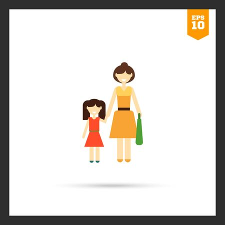 family with one child: Icon of single-parent family consisting of one woman and one child