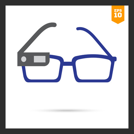 eyewear: icon of smart glasses mounted on spectacles