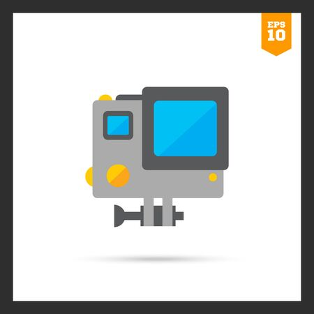 traffic violation: Icon of traffic speed camera in orange circle Stock Photo