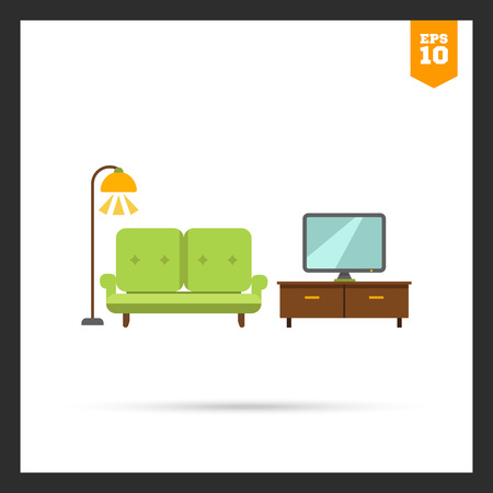 tvset: Icon of living room interior including couch, TV stand, TV-set and glowing floor lamp Illustration