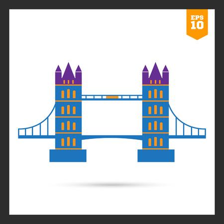 london bridge: Multicolored icon of famous London Bridge Illustration