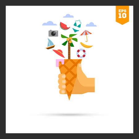 ring buoy: icon of vacation concept including waffle cone with palm tree, beach umbrella, watermelon slice, camera, hat, life ring buoy