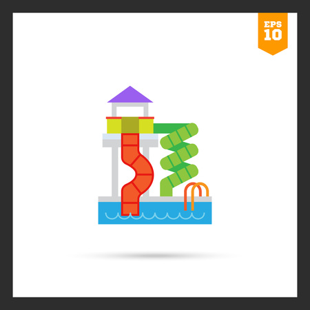 slides: icon of waterpark with pool and slides Illustration