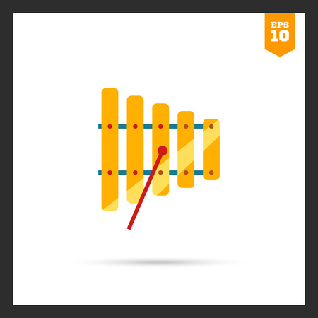 xylophone: Icon of xylophone with mallet Illustration