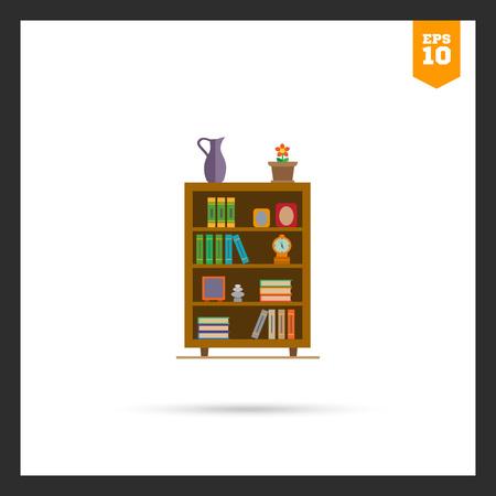 marcos decorados: icono de los estantes de libros decorado con flores en maceta, el reloj y marcos de fotos