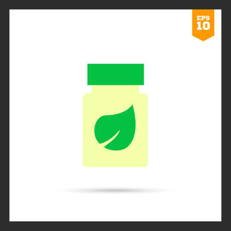 dietary: Icon of dietary supplement bottle with leaf picture