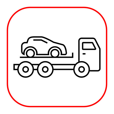 evacuating: Icon of tow truck with loaded car