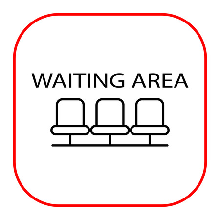 area: Icon of waiting area sign with row of empty chairs