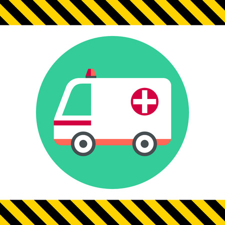 recue: White ambulance car with cross sign and warning beacon