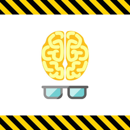 mental object: Icon of brain with glasses Illustration
