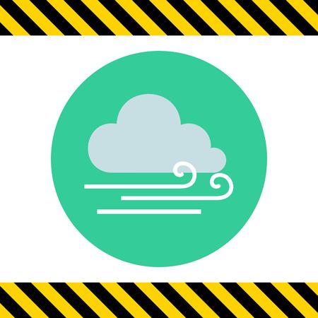 slight: Icon of cloud and slight wind sign Illustration