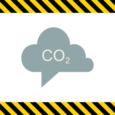 greenhouse gas: Icon of CO2 sign in grey cloud