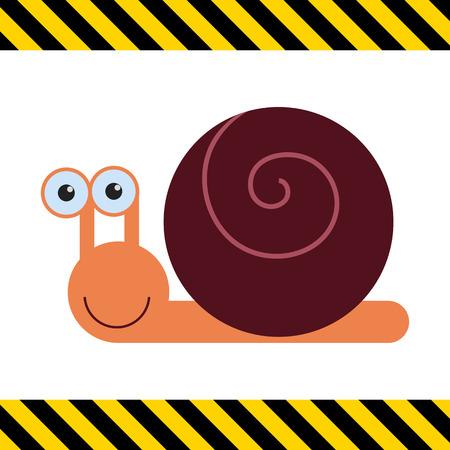 caracol: Icono del vector del caracol sonriente linda de la historieta Vectores