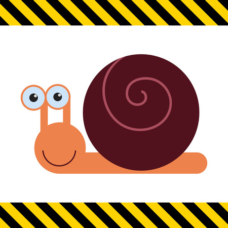 snail: Vector icon of cute smiling cartoon snail
