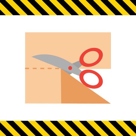 tijeras: Icono de tijeras de corte pedazo de tela