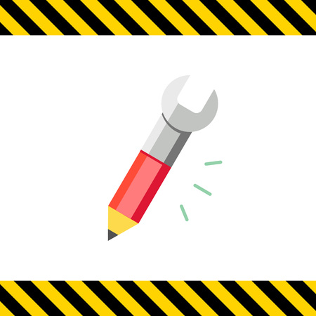 to the other side: Icon of pencil with tip and spanner on other side Illustration