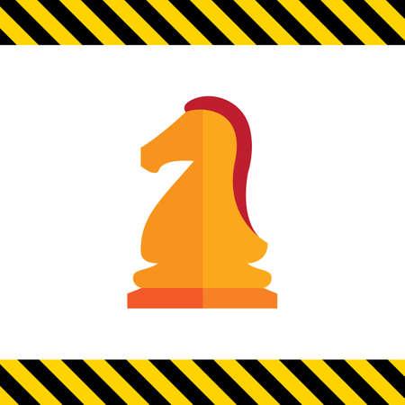 caballo de ajedrez: Multicolored vector icon of orange chess knight Vectores