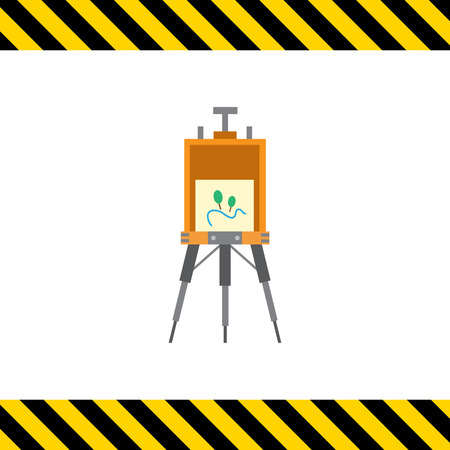 easel: Vector icon of standing drawing easel with painting