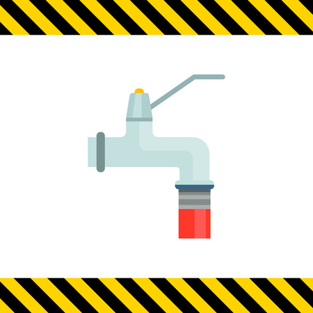 gardening hoses: Icon of faucet and attached garden hose Illustration