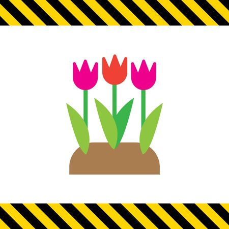 flower bed: Vector icon of flower bed with tulips