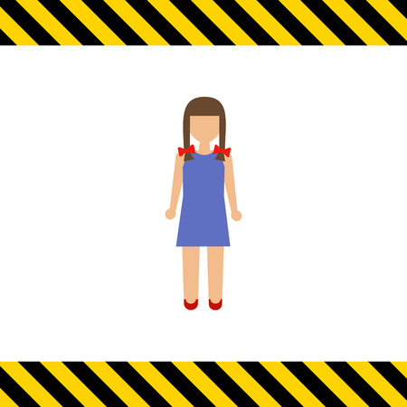 early teens: Icon of girl with braids wearing blue dress Illustration