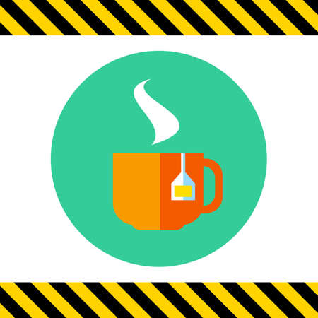 hot cup: Icon of hot tea cup with tea bag