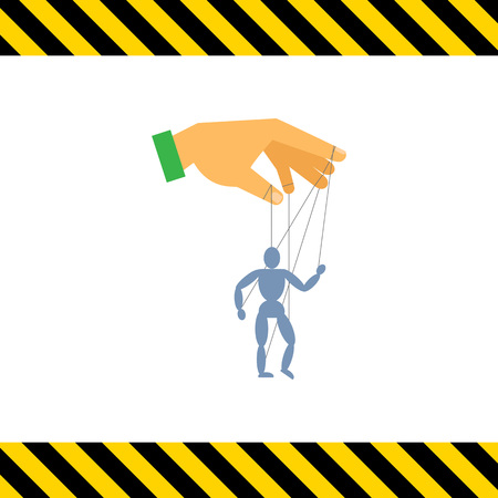 manipulate: Vector icon of human hand with marionette puppet Illustration