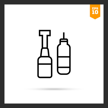 dispenser: Icon of ketchup and mustard bottles with dispenser Illustration